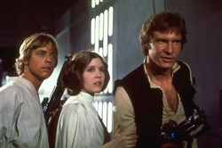 "Mark Hamill, Carrie Fisher and Harrison Ford starred in the 1977 film ""Star Wars."""