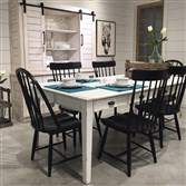 HGTV's Joanna Gaines designed farmhouse kitchen table, chairs and china cabinet from her new Magnolia Home Collection.