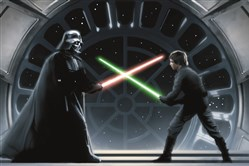 Luke Skywalker (Mark Hamill) battles Darth Vader on the Death Star in Star Wars: Episode VI - Return of the Jedi.