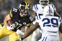 Steelers tight end Jesse James picks up first down against the Colts on Dec. 6, 2015, at Heinz Field. James hopes to see more playing time following Heath Miller's retirement.