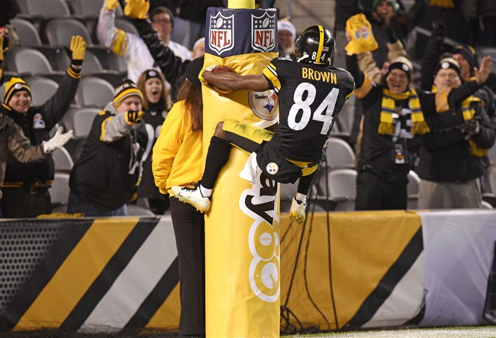 Colts Steelers Football Steelers wide receiver Antonio Brown leaps into the goal post after scoring a touchdown against the Indianapolis Colts on Dec. 6.