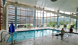 After renovations, the Downtown Wyndham Hotel's fourth floor fitness center, now featuring a pool, reopened in 2014.