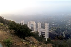The view of the Hollywood sign from the top of Mount Lee.