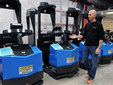 Seegrid Corporation makes vision-guided industrial vehicles, technology developed by Carnegie Mellon University. CEO Jim Rock shows autonomous tugger robots at the warehouse in Coraopolis.