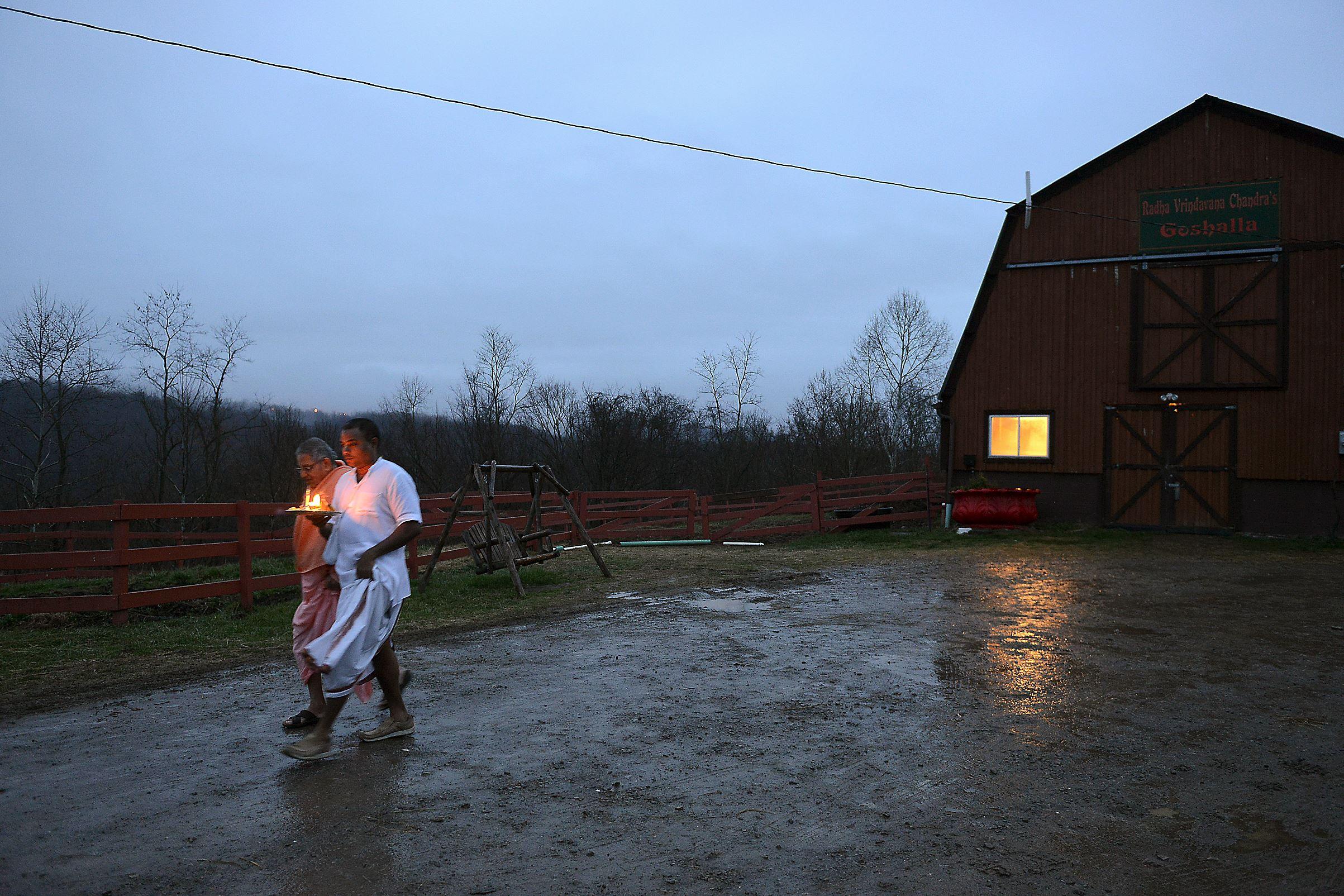 20151210JR-NewVrindaban5-6 Sri Rupa, 46, and Venkadesha Krishna Das, 77, leave the cow barn to return to the Temple for early morning worship Dec. 1.