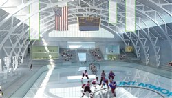 An artist's rendering of the proposed Hunt Armory Ice Center