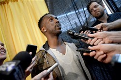 Pirates star Andrew McCutchen takes questions from the media last weekend at the annual PirateFest.