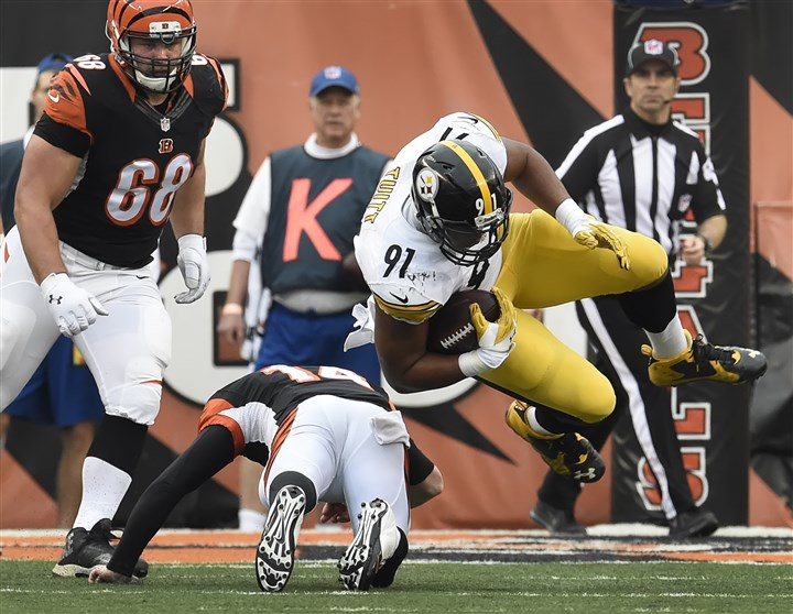 20151213pdSteelersSports04-1 Steelers defensive end Stephon Tuitt with an interception in December against the Cincinnati Bengals.
