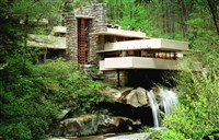 Frank Lloyd Wright's architectural masterpiece Fallingwater, the summer home commisioned by Pittsburgh department store owner Edgar Kaufmann in 1938.