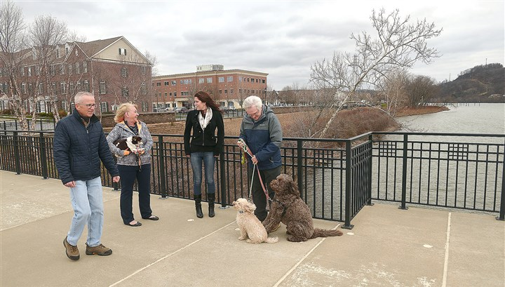 20151215lrchapelharborbiz02-1 Gail James, right, a resident of Chapel Harbor at the Water, plays with his dogs Brody, left, and Charlie as he talks with, from left, Rich Kowal, Debbie Sparks and Kiley Shively.