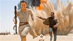 "Everyday people: Daisy Ridley as Rey, left, and John Boyega as Finn, in ""Star Wars: The Force Awakens."""