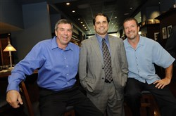 Tim Neverett, middle, left the Pirates broadcasts booth to take a position with the Boston Red Sox. Bob Walk, left, and John Wehner remain as analysts.