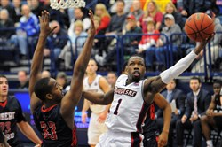 Duquesne guard Derrick Colter led the Dukes with 19 points Saturday in a 72-65 win against Robert Morris at Palumbo Center.