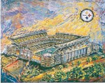 One of South Side resident Johno Prascak's paintings of Heinz Field.
