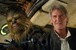 "Peter Mayhew and Harrison Ford are back in action as Chewbacca and Han Solo in ""Star Wars: The Force Awakens,"" part of this year's Dollar Bank Cinema in the Park."