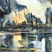"For the 10th year, the Pittsburgh Post-Gazette continues its tradition of highlighting the work of an outstanding local artist at Christmas. Raymond Simboli painted this oil on canvas titled ""Steel Mill"" in 1950. Inspired by the Allegheny Ludlum mill,  the painting hangs at the Westmoreland Museum of American Art in Greensburg."