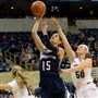 Duquesne's Amadea Szamosi of Hungary is one of three international-born starters on the Dukes.
