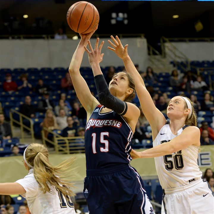 20151230pittwomensports02-1 Duquesne's Amadea Szamosi of Hungary is one of three international-born starters on the Dukes.