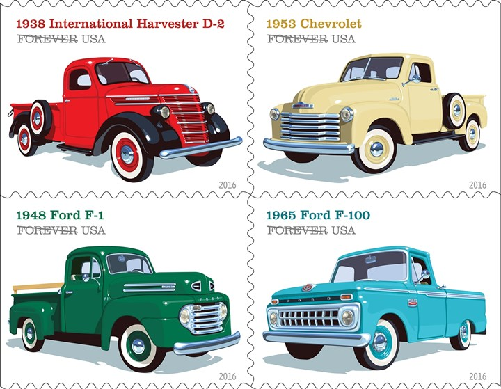 Stamps1231264-2 Pickup trucks are honored on this series of stamps.