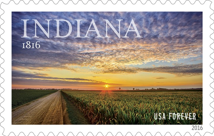 Stamps1231261-1 This stamp celebrates the 200-year-old anniversary of Indiana's statehood.