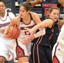 Duquesne's Amadea Szamosi takes a rebound away from Dayton's Ashleigh Parkinson in the Dukes' game at the A.J. Palumbo Center.