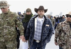 Militia dude Ammon Bundy, apres news conference at Malheur National Wildlife Refuge on Monday.