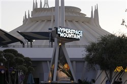 Exterior view of the updated Hyperspace Mountain at Disneyland in Anaheim, Calif.