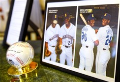 A photo of Ken Griffey Sr. and Ken Griffey Jr. on display at the Donora Smog Museum.