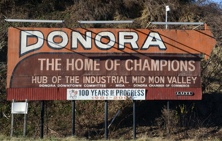 "20160106JRGriffey1 Donora is known locally as the ""home of champions"" because of great athletes from the area, such as Ken Griffey Jr. and Stan Musial."
