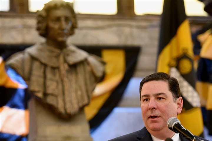 20160106radBicentennialLocal01 The bust of Pittsburgh's namesake, William Pitt the Elder, looms over Pittsburgh's 60th mayor Bill Peduto as he announces the events planned to celebrate the 200th anniversary of Pittsburgh's incorporation as a city in 1816.