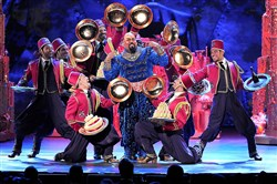 "James Monroe Iglehart, center, and the cast of ""Aladdin"" perform during the 2014 Tony Awards at Radio City Music Hall in New York. Along with ""The Lion King,"" the Disney productions helped make 2015 a record year on Broadway."