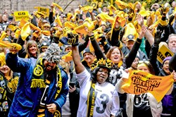 Steelers fans gather at the County Courthouse, Downtown, during the Steelers Playoff Rally.