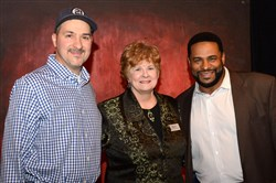 From left, Duane Rieder, Maggie Withrow and Jerome Bettis.