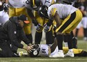Antonio Brown lay on the field after taking a hit from the Bengals' Cincinnati's Vontaze Burfict at Paul Brown Stadium.