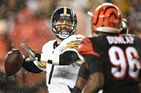 Quarterback Ben Roethlisberger drops back to pass during last season's playoff game against the Bengals at Paul Brown Stadium in Cincinnati.