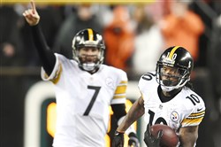 Steelers quarterback Ben Roethlisberger watches as Martavis Bryant picks up a first down against the Bengals last season.