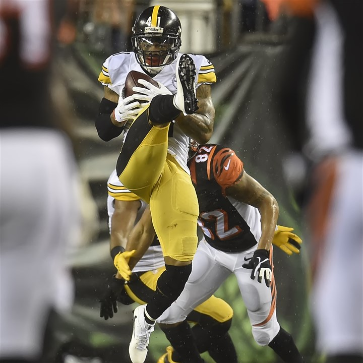 20160109pdSteelersSports04-2 Steelers DB Antwon Blake intercepts a pass Saturday night against the Bengals at Paul Brown Stadium in Cincinnati.