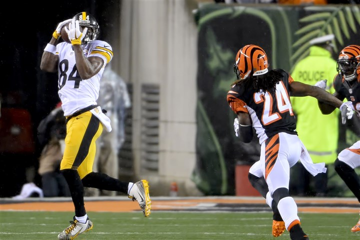 20160109mfsteelerssports06 The Steelers' Antonio Brown pulls in a pass against the Bengals in the second quarter of the AFC Wild Card game Saturday at Paul Brown Stadium.