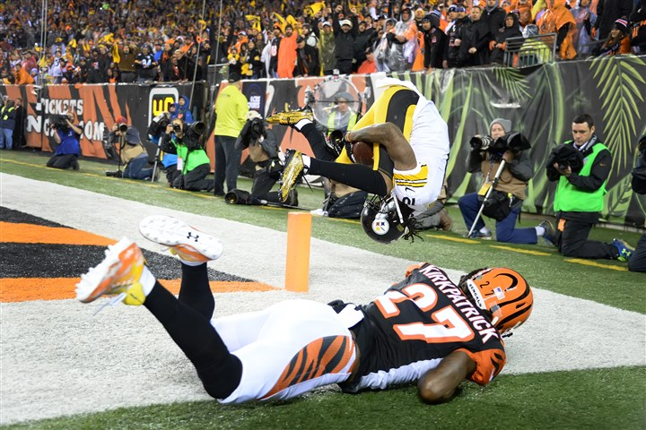 20160109pdSteelersSports06 Pittsburgh Steelers' Martavis Bryant hauls in touchdown pass in the third quarter against the Bengals at Paul Brown Stadium.