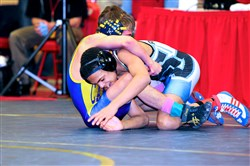 Seneca Valley's Louis Newell, right, won the Tool City Tournament at 113 pounds.