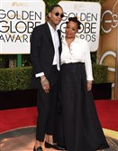 Wiz Khalifa and Peachie Wimbush arrive at the 73nd annual Golden Globe Awards.