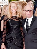 Jerry Hall, left, and Rupert Murdoch arrive at the 73rd annual Golden Globe Awards on Sunday at the Beverly Hilton Hotel in Beverly Hills, Calif.