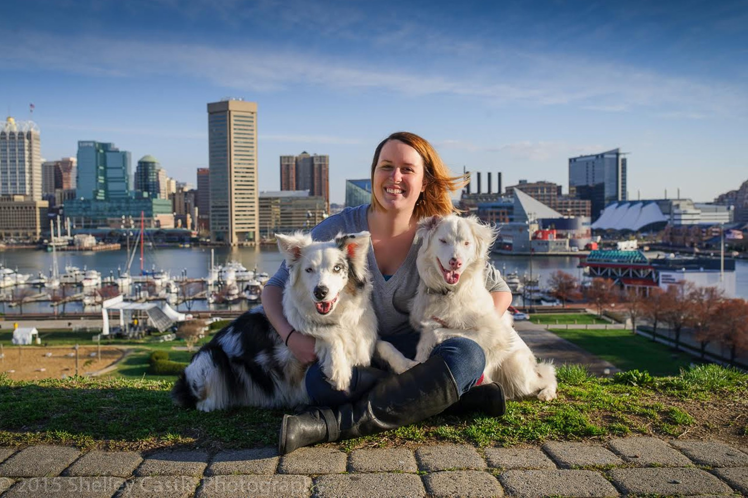 Amanda Fuller with her Australian shepherds Kai, left, and Keller. Keller was born deaf and partially blind as the offspring to two merle-coated dogs. Ms. Fuller is trying to educate the public on the risks of such breeding.