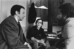 From left, Andrew Young, Tom Offenburger and Stoney Cooks discuss Mr. Young's 1972 congressional campaign strategy.