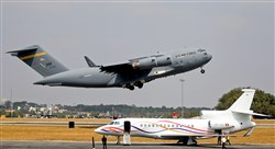 In a file photo, a U.S. Air Force C-17 Globemaster III cargo plane takes off at Yelahanka air base in Bangalore, India.