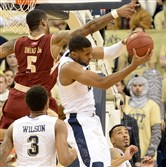 Pitt's Sheldon Jeter pulls down a rebound against Boston College's Garland Owens at Petersen Events Center. Jeter was discussed with a concussion and will not play against Florida State.