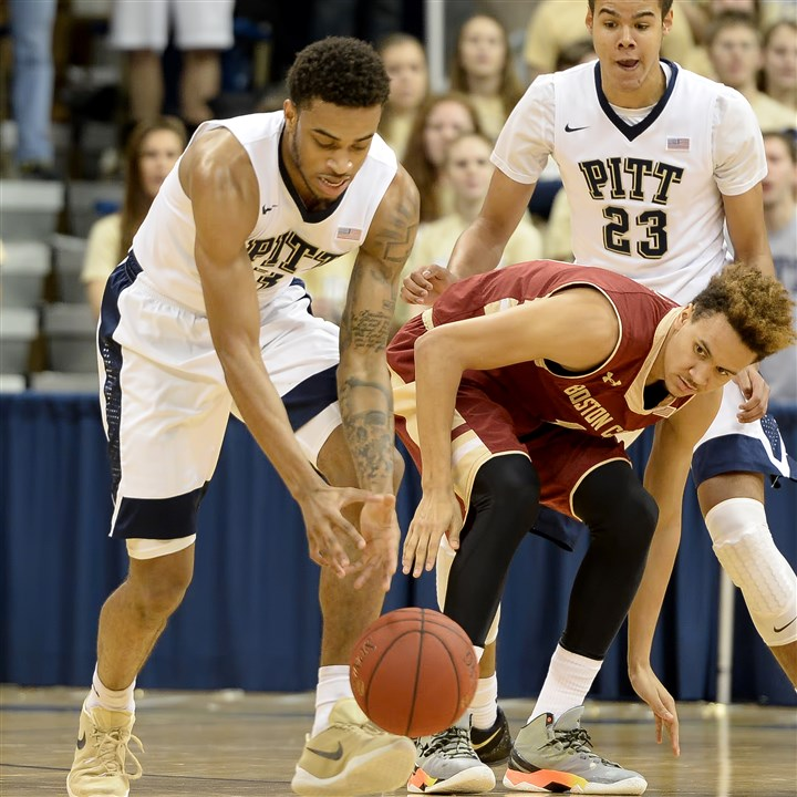 20160116mfpittsports02-1 Pitt's Damon Wilson steals the ball from Boston College's A.J. Turner in the first half Saturday at Petersen Events Center.