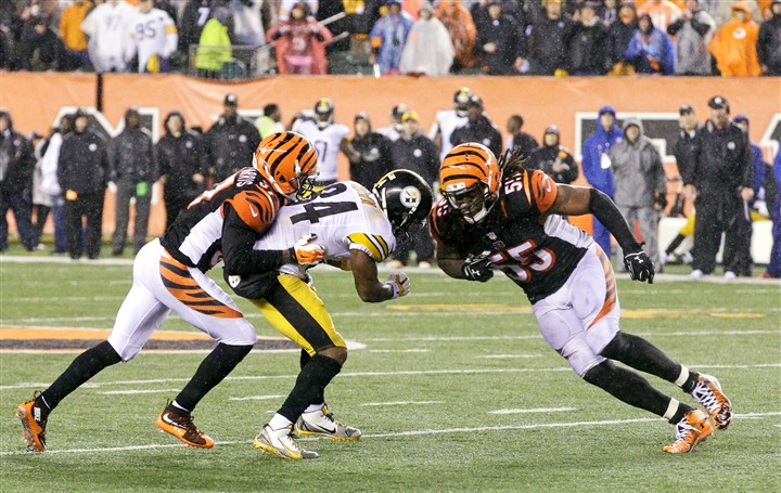 Vontaze Burfict, right, and Antonio Brown Cincinnati Bengals linebacker Vontaze Burfict, right, lowers his shoulder to strike Steelers receiver Antonio Brown in the head late in the teams' wild-card playoff game on Jan. 9 in Cincinnati.