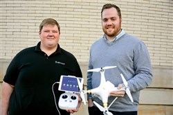 Co-founders Justin Miller, left, and Ben Brautigam of Airnest. The new app Airiest allows you to draw a flightpath with your finger and the drone flies on autopilot capturing video or still images.