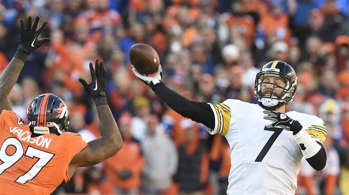 20160117pdSteelersSports17 Malik Jackson pressures Ben Roethlisberger in the fourth quarter of Sunday game in Denver.